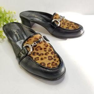 BRIGHTON Austen leopard calf hair mule loafer